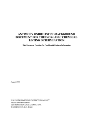ANTIMONY OXIDE LISTING BACKGROUND DOCUMENT FOR THE INO