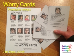 Worry Cards PowerPoint PPT Presentation