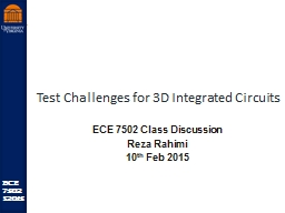 Test Challenges for 3D Integrated Circuits PowerPoint PPT Presentation