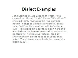Dialect Examples PowerPoint PPT Presentation