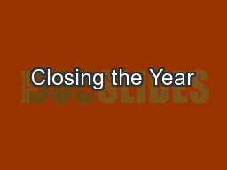 Closing the Year