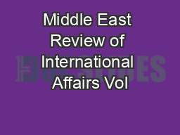 Middle East Review of International Affairs Vol