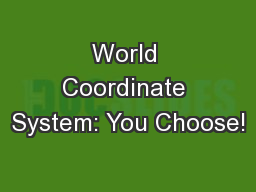 World Coordinate System: You Choose!