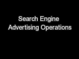 Search Engine Advertising Operations