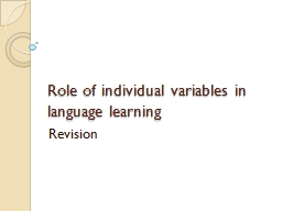 Role of individual variables in language learning