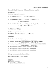 CmSc  Discrete Mathematics Lesson  Basic Properties of