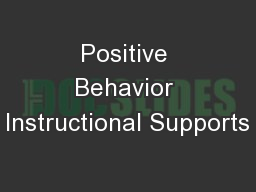 Positive Behavior Instructional Supports