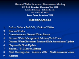 1 Ground Water Resources Commission Meeting