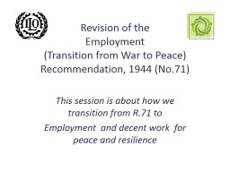 Decent work for peace, security and disaster resilience: Re