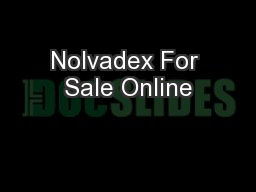 Nolvadex For Sale Online