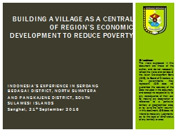 INDONESIA'S EXPERIENCE IN SERDANG BEDAGAI DISTRICT, NORTH