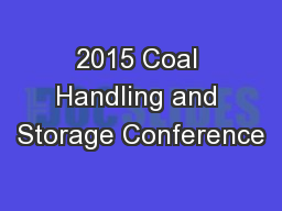 2015 Coal Handling and Storage Conference