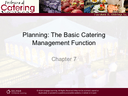 Planning: The Basic Catering Management Function