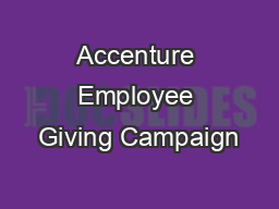 Accenture Employee Giving Campaign