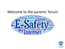Welcome to the parents' forum