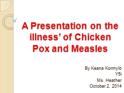 A Presentation on the illness' of Chicken Pox and Measles