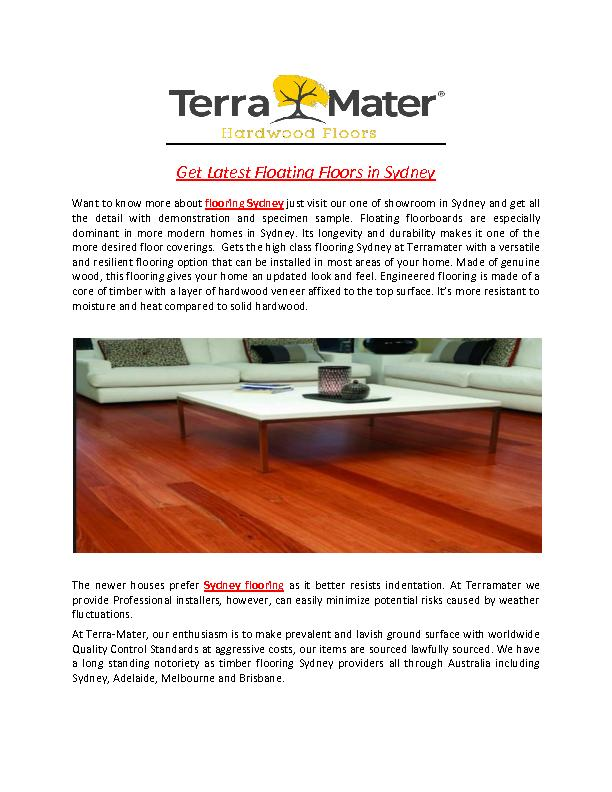 Get Latest Floating Floors in Sydney