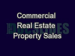 Commercial Real Estate Property Sales