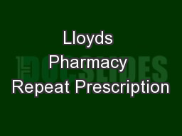 Lloyds Pharmacy Repeat Prescription