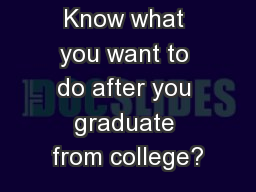 Know what you want to do after you graduate from college?