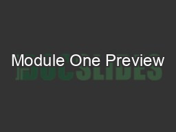 Module One Preview