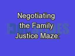 Negotiating the Family Justice Maze: