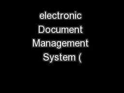electronic Document Management System (