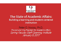 The State of Academic Affairs: