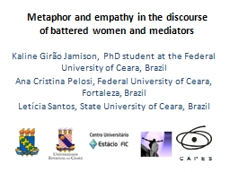 Metaphor and empathy in the discourse of battered women and PowerPoint PPT Presentation
