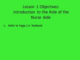 Lesson 1 Objectives: