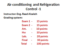 Air-conditioning and Refrigeration Control -1