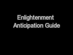 Enlightenment Anticipation Guide