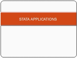 STATA APPLICATIONS
