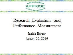 Research, Evaluation, and Performance Measurement