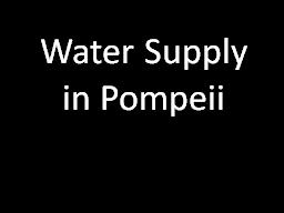 Water Supply in Pompeii