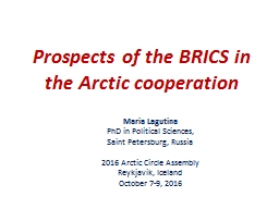 Prospects of the BRICS in the Arctic cooperation