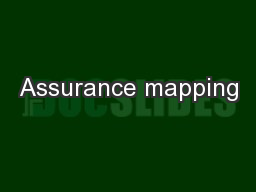 Assurance mapping PowerPoint PPT Presentation