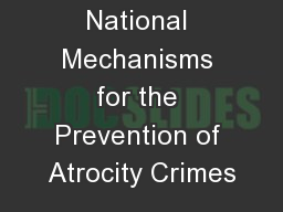 National Mechanisms for the Prevention of Atrocity Crimes