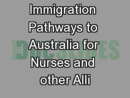 Immigration Pathways to Australia for Nurses and other Alli