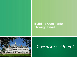 Building Community Through Email PowerPoint PPT Presentation