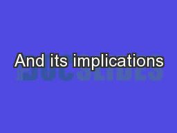 And its implications PowerPoint PPT Presentation