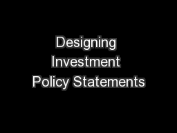 Designing Investment Policy Statements