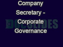Company Secretary - Corporate Governance &