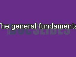 The general fundamental