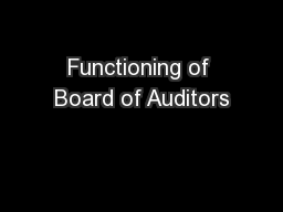 Functioning of Board of Auditors