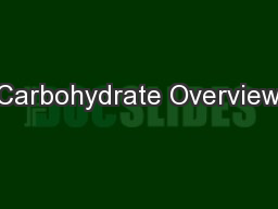 Carbohydrate Overview