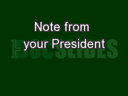 Note from your President