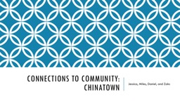 Connections to Community: Chinatown