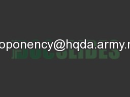 proponency@hqda.army.mil PowerPoint PPT Presentation