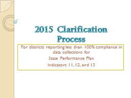 2015 Clarification Process